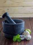 Garlic with Pestle and mortar Stock Photo