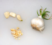 Garlic pieces and garlic bulb. Good for your health in many ways. Herbs in foods, healthful in garlic oil capsules form also Royalty Free Stock Photo
