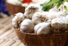 Garlic pods. Closeup shot of white garlic pods Royalty Free Stock Photo