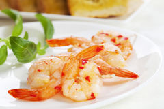 Garlic Prawn Kebabs Royalty Free Stock Photo
