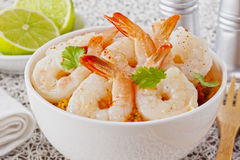 Garlic Prawns with Couscous Stock Photos