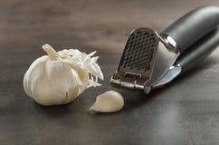 Garlic and press Royalty Free Stock Photos