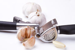Garlic press and garlic royalty free stock images