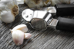 Garlic Press and Garlic Bulb Close Up Royalty Free Stock Images