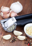 Garlic press and garlic Stock Image