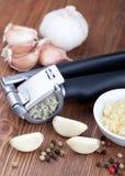 Garlic press and garlic Stock Image