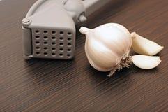 Garlic press and garlic Royalty Free Stock Image