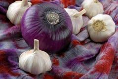 Garlic and purple onion Stock Photo