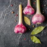 Garlic purple with stem on a black stone background. Stock Image