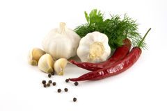 Garlic, red and black pepper, parsley and dill. Are isolated Royalty Free Stock Images