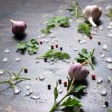 Garlic, red, black peppers, sea salt, greenery on cracks black b Royalty Free Stock Images