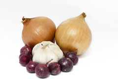 Garlic, red and bulb onions. Stock Photo
