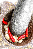 Garlic and red chili pepper in stone mortar Stock Images