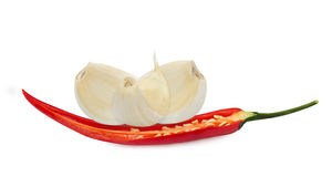 Garlic and red chilli pepper Stock Image