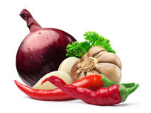 Garlic, red onion, cayenne, parsley, paths Stock Images