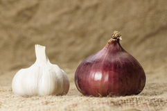 Garlic and Red Onion Royalty Free Stock Photos