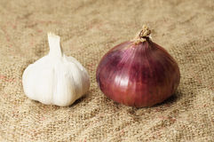 Garlic and Red Onion Stock Photography