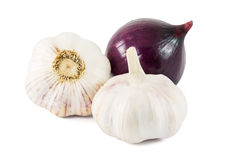 Garlic and red onion Royalty Free Stock Photography