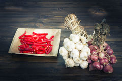Garlic and red onions and chili on dark wooden floor Stock Photography