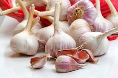 Garlic from a red package Stock Photo