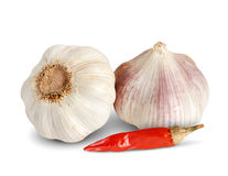 Garlic and red pepper. On white background Royalty Free Stock Photo