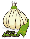 Garlic with a Ribbon for Haft-Seen in Nowruz Tradition, Vector Illustration Stock Photo