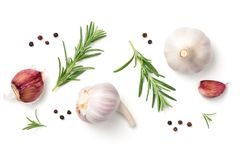 Garlic, Rosemary and Pepper Isolated on White Background Royalty Free Stock Photos