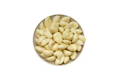 Garlic on a round plate Royalty Free Stock Photos
