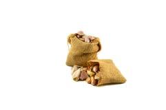 Garlic sacks Stock Image