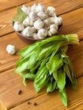Garlic and salad Stock Images