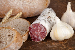 Garlic and salami Royalty Free Stock Photography