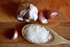 Garlic and salt Royalty Free Stock Image