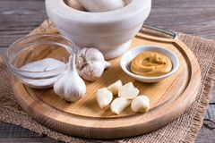 Garlic, salt, mustard and pepper on a wooden board. On the table Stock Photography