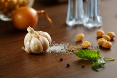 Garlic, salt, pepper and onion Stock Photography