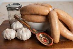 Garlic sausages Stock Photos