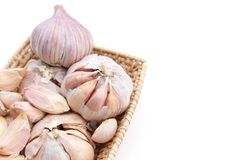 Garlic set. Garlics are setted in wicker basket Royalty Free Stock Photography