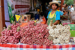 Garlic and shallot seller at Annual Lumpini Cultural Festival Stock Photos