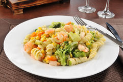 Garlic shrimp and pasta Stock Images