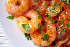 Garlic shrimp pinchos tapas from Spain Royalty Free Stock Images