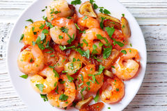 Garlic shrimp pinchos tapas from Spain Royalty Free Stock Photography