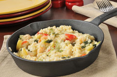 Garlic Shrimp Risotto in a Cast Iron Skillet Stock Images
