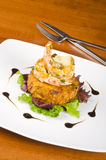 Garlic Shrimps and Latke on a Bed of Lettuce #2 Stock Photo