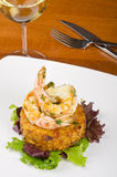 Garlic Shrimps and Latke and a Glass of Wine #1 Royalty Free Stock Photo