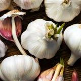 Garlic. Some garlic bulbs on a wooden board stock photo
