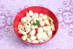Garlic. Some garlic with spices in oil Royalty Free Stock Images