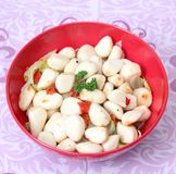 Garlic. Some garlic with spices in oil Royalty Free Stock Image