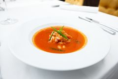 Garlic soup with prawns Royalty Free Stock Photo