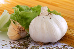 Garlic and spaghetti Royalty Free Stock Photography