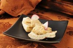 Garlic spice hummus on pita Stock Photos