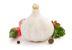 Garlic spice isolated on white Stock Photography